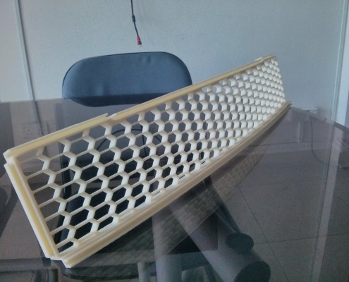 Custom Made Hex Car Grille - Side View