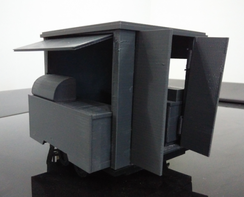 3D Printed Mobile Kiosk Assembled - Back View