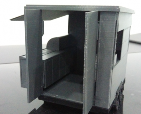3D Printed Mobile Kiosk Assembled - Side Door View