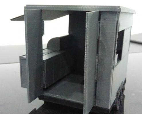 3D Printed Mobile Kiosk Assembled - Side Door View